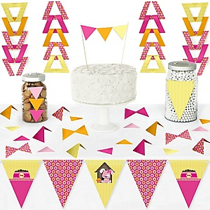 Girl Puppy Dog - DIY Pennant Banner Decorations - Baby Shower or Birthday Party Triangle Kit - 99 Pieces