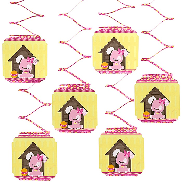 Girl Puppy Dog - Baby Shower Hanging Decorations - 6 ct