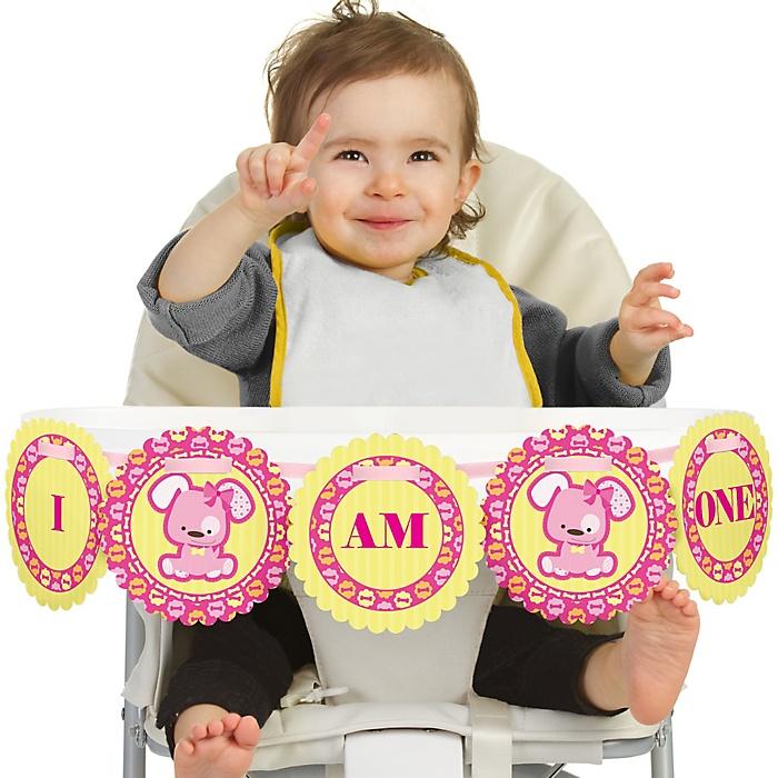 Girl Puppy Dog 1st Birthday - I am One - First Birthday High Chair Banner