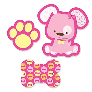 Girl Puppy Dog - Shaped Party Paper Cut-Outs - 24 ct
