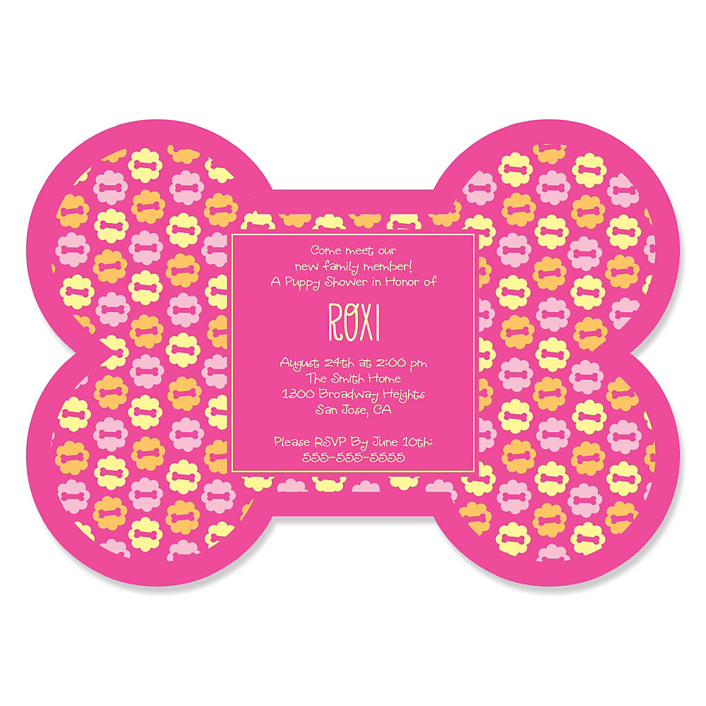 Girl Puppy Party - Bone Shaped Personalized Puppy Shower Invitations ...