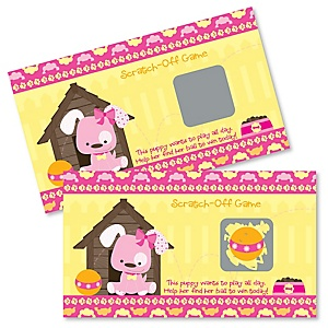 Girl Puppy Dog - Baby Shower Game Scratch Off Cards - 22 ct