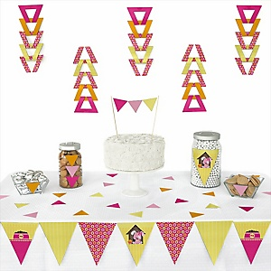 Girl Puppy Dog - 72 Piece Triangle Party Decoration Kit