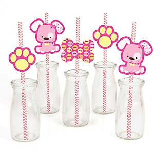 Girl Puppy Dog - Paper Straw Decor - Baby Shower or Birthday Party Striped Decorative Straws - Set of 24