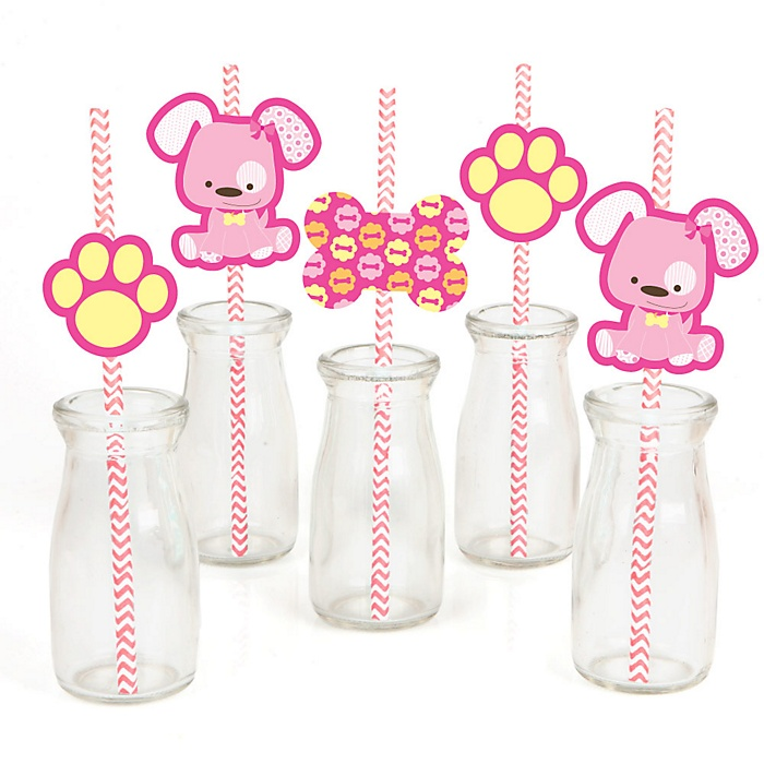 Girl Puppy Dog - Paper Straw Decor - Baby Shower or Birthday Party Striped Decorative Straws - Set of 24