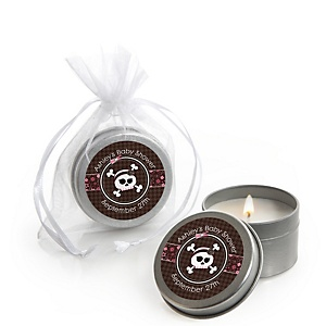 Skullicious™ - Baby Girl Skull - Candle Tin Personalized Baby Shower Favors