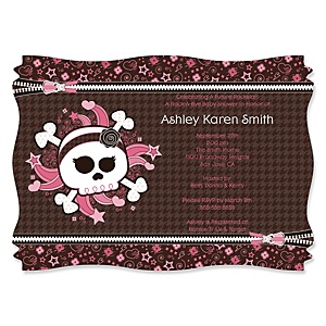 Skullicious™ - Baby Girl Skull - Personalized Baby Shower Invitations