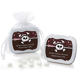 Skullicious™ - Baby Girl Skull - Personalized Baby Shower Mint Tin Favors