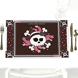 Skullicious™ - Baby Girl Skull - Personalized Baby Shower Placemats