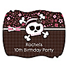Skullicious™ - Girl Skull - Personalized Birthday Party Squiggle Stickers - 16 ct