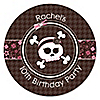Skullicious™ - Girl Skull - Personalized Birthday Party Sticker Labels - 24 ct