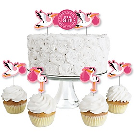 Girl Special Delivery - Dessert Cupcake Toppers - It's A Girl Stork Baby Shower Clear Treat Picks - Set of 24