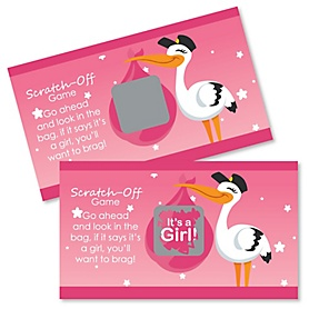 Girl Special Delivery - Pink Stork Baby Shower Game Scratch Off Cards - 22 ct