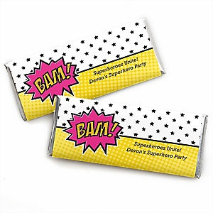 BAM! Girl Superhero - Personalized Baby Shower Candy Bar Wrapper Favors