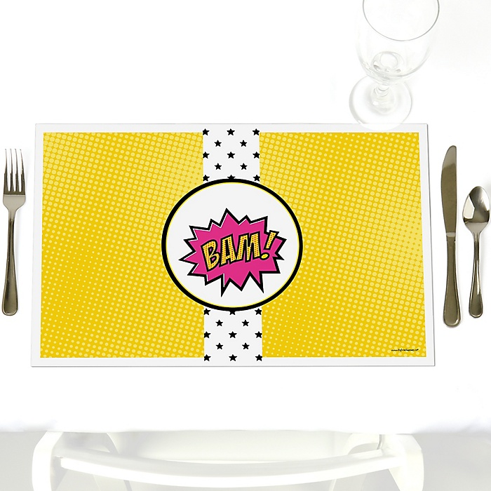 BAM! Girl Superhero - Party Table Decorations - Party Placemats - Set of 12