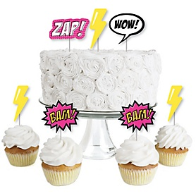 BAM! Girl Superhero - Dessert Cupcake Toppers - Baby Shower or Birthday Party Clear Treat Picks - Set of 24