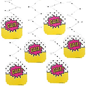 BAM! Girl Superhero - Party Hanging Decorations - 6ct
