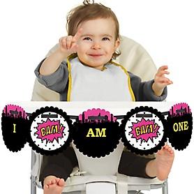BAM! Girl Superhero 1st Birthday - I am One - First Birthday High Chair Banner