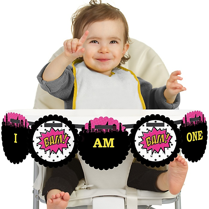 BAM! Girl Superhero 1st Birthday - I am One - First Birthday High Chair Banner