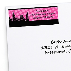 BAM! Girl Superhero - Personalized Baby Shower Return Address Labels - 30 Count