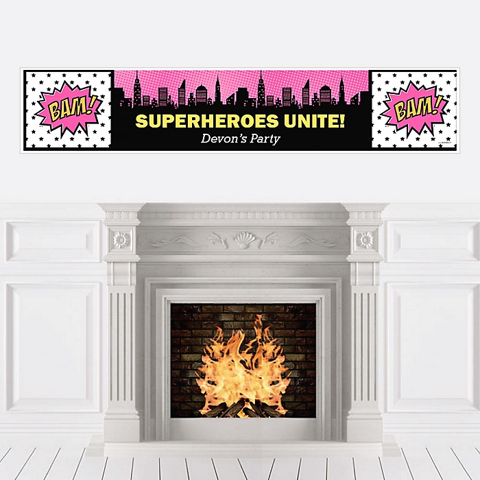 BAM! Girl Superhero - Personalized Party Banners