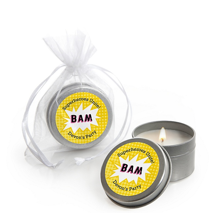BAM! Girl Superhero - Personalized Party Candle Tin Favors - Set of 12