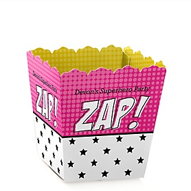BAM! Girl Superhero - Party Mini Favor Boxes - Personalized Party Treat Candy Boxes - Set of 12