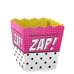 BAM! Girl Superhero - Personalized Baby Shower Candy Boxes