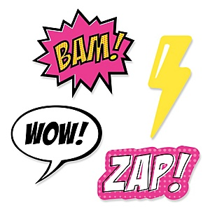 BAM! Girl Superhero - DIY Shaped Party Paper Cut-Outs - 24 ct