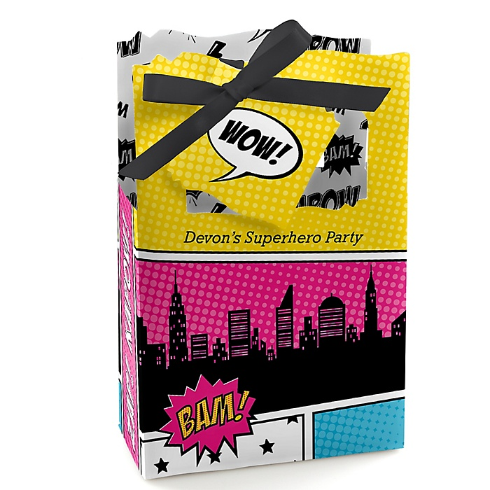 BAM! Girl Superhero - Personalized Party Favor Boxes - Set of 12
