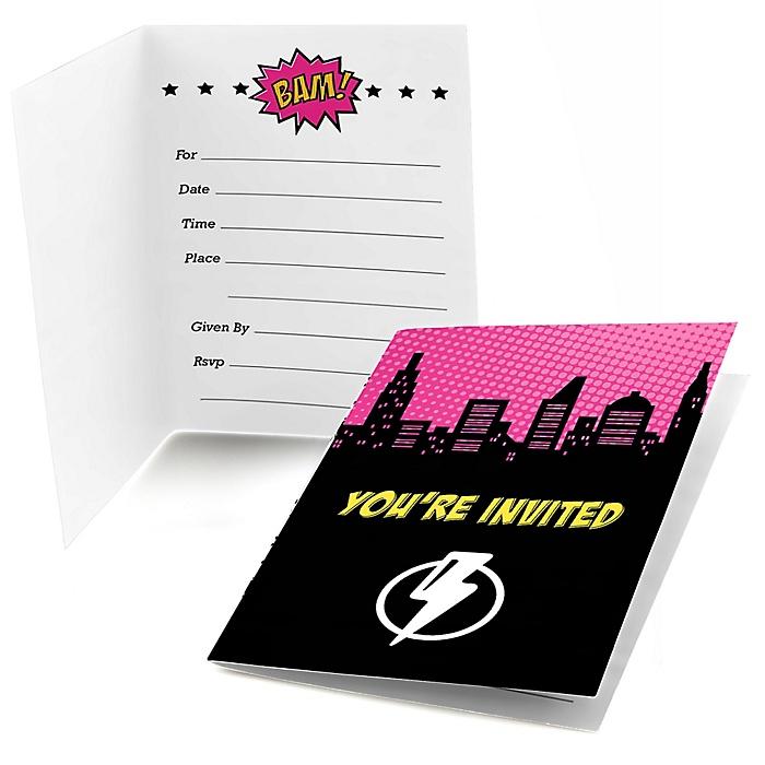BAM! Girl Superhero - Fill In Invitations - 8 ct
