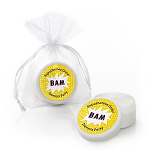 BAM! Girl Superhero - Personalized Party Lip Balm Favors
