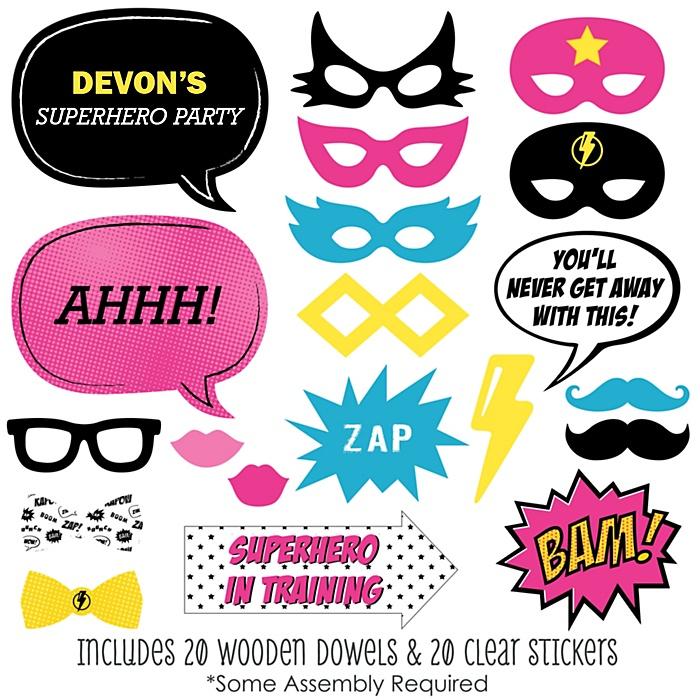 BAM! Girl Superhero - 20 Piece Photo Booth Props Kit