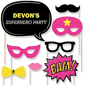 BAM! Girl Superhero - Baby Shower Photo Booth Props Kit - 20 Props
