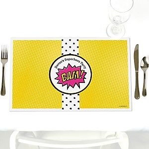 BAM! Girl Superhero - Personalized Party Placemats