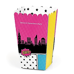 BAM! Girl Superhero - Personalized Party Popcorn Favor Treat Boxes
