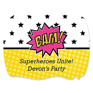 BAM! Girl Superhero - Personalized Party Squiggle Stickers - 16 ct
