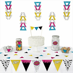 BAM! Girl Superhero -  Triangle Party Decoration Kit - 72 Piece