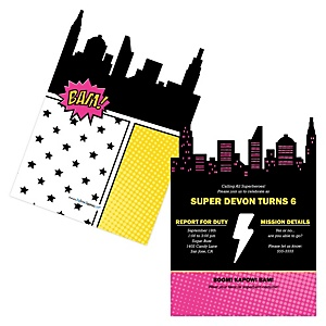 BAM! Girl Superhero - Shaped Birthday Party Invitations - Set of 12