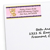 Baby Girl Teddy Bear - Personalized Baby Shower Return Address Labels - 30 ct