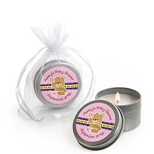 Baby Girl Teddy Bear - Personalized Baby Shower Candle Tin Favors - Set of 12