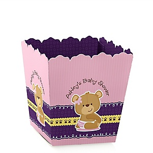 Baby Girl Teddy Bear - Party Mini Favor Boxes - Personalized Baby Shower Treat Candy Boxes - Set of 12