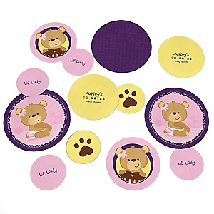 Baby Girl Teddy Bear - Personalized Baby Shower Table Confetti - 27 ct
