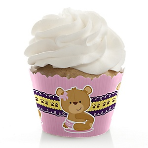 Baby Girl Teddy Bear - Baby Shower Decorations - Party Cupcake Wrappers - Set of 12