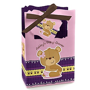 Baby Girl Teddy Bear - Personalized Baby Shower Favor Boxes - Set of 12