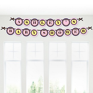Baby Girl Teddy Bear - Personalized Baby Shower Garland Letter Banners