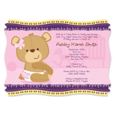 Baby Girl Teddy Bear Personalized Baby Shower Invitations