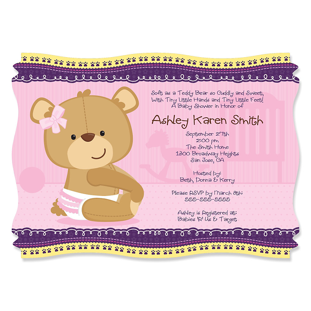 Baby Girl Teddy Bear - Personalized Baby Shower Invitations ...