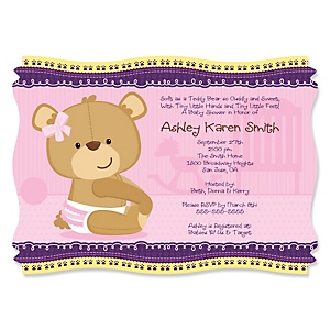 Baby Girl Teddy Bear - Personalized Baby Shower Invitations - Set of 12