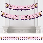 Baby Girl Teddy Bear - Personalized Baby Shower Bunting Banner